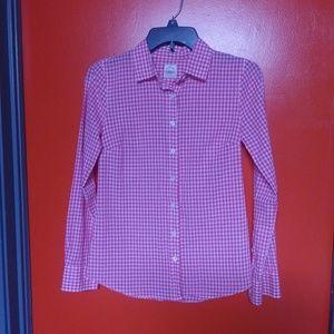 The Perfect Shirt Pink & White Plaid J. Crew Sz 00